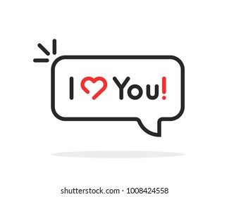 linear i love you text in speech bubble. flat simple style trend modern logotype graphic design element illustration isolated on white background. concept of lover saying words of recognition in amour