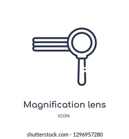 Linear magnification lens icon from Education outline collection. Thin line magnification lens icon isolated on white background. magnification lens trendy illustration