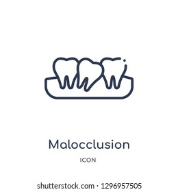 Linear malocclusion icon from Dentist outline collection. Thin line malocclusion icon isolated on white background. malocclusion trendy illustration