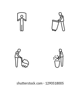 Linear Man with Banner, Man wirth Carry, Carry Garbage, Prune Hedge Vector Illustration Of 4 outline Icons. Editable Pack Of Man with Banner, Man wirth Carry, Carry Garbage, Prune Hedge