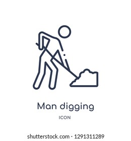 Linear man digging icon from Behavior outline collection. Thin line man digging vector isolated on white background.