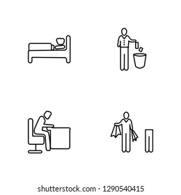Linear Man Sleeping, Man Snoozing, Throwing Trash, Shopper Man Vector Illustration Of 4 outline Icons.