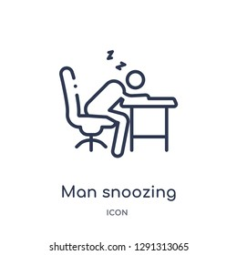 Linear man snoozing icon from Behavior outline collection. Thin line man snoozing vector isolated on white background. man snoozing trendy illustration