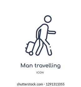 Linear man travelling icon from Behavior outline collection. Thin line man travelling vector isolated on white background. man travelling trendy illustration