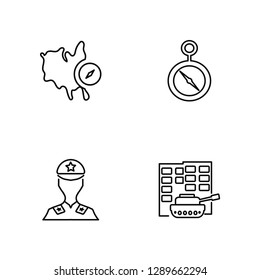 Linear Map and compass orientation tools, Militar, Compass Vector Illustration Of 4 outline Icons. Editable Pack Of Map and compass orientation tools, Militar, Compass