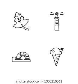 Linear Maple leaf, Igloo, Lighthouse, Ice cream Vector Illustration Of 4 outline Icons. Editable Pack Of Maple leaf, Igloo, Lighthouse, Ice cream