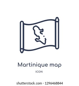 Linear martinique map icon from Countrymaps outline collection. Thin line martinique map icon vector isolated on white background. martinique map trendy illustration