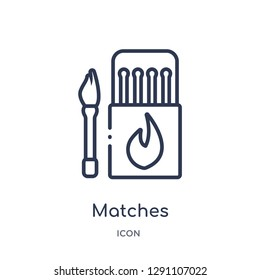 Linear matches icon from Camping outline collection. Thin line matches vector isolated on white background. matches trendy illustration