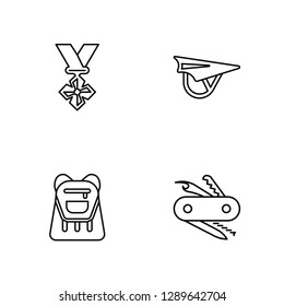 Linear Medal, Backpack, Hang glider, Multitool Vector Illustration Of 4 outline Icons. Editable Pack Of Medal, Backpack, Hang glider, Multitool
