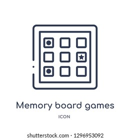 Linear memory board games icon from Entertainment outline collection. Thin line memory board games icon isolated on white background. memory board games trendy illustration