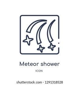 Linear meteor shower icon from Astronomy outline collection. Thin line meteor shower vector isolated on white background. meteor shower trendy illustration