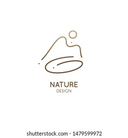 Linear minimal logo landscape in trendy style. Mountain, sun and lake. Vector doodle illustration. Simple emblem, badge for travel, alternative medicine, ecology concept, holistic, spa, health, yoga