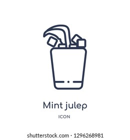 Linear mint julep icon from Drinks outline collection. Thin line mint julep icon vector isolated on white background. mint julep trendy illustration