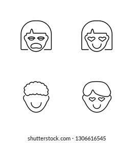Linear Miserly, Rockstar, In love, In love Vector Illustration Of 4 outline Icons. Editable Pack Of Miserly, Rockstar, In love, In love