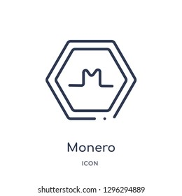 Linear monero icon from Cryptocurrency economy and finance outline collection. Thin line monero icon vector isolated on white background. monero trendy illustration