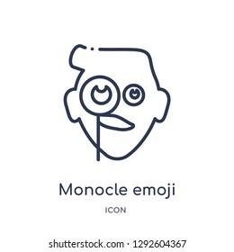 Linear monocle emoji icon from Emoji outline collection. Thin line monocle emoji icon vector isolated on white background. monocle emoji trendy illustration