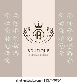 Linear Monogram Template. Set of Stylish Capital Letters with a Curl. Simple Logo. English Alphabet. Elegant Line Art Design. Emblem for Crest, Royalty, Boutique, Hotel, Restaurant, Heraldic. Vector