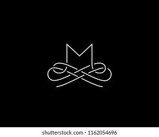 Linear monogram vector symbol logo. Premium letter M logotype.