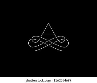 Linear monogram vector symbol logo. Premium letter A logotype.