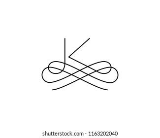 Linear monogram vector symbol logo. Premium letter K logotype.
