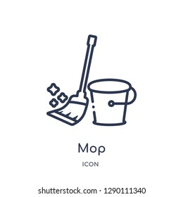 Linear mop icon from Cleaning outline collection. Thin line mop vector isolated on white background. mop trendy illustration