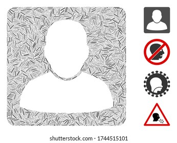 Linear mosaic man vcard icon designed from straight items in random sizes and color hues. Linear items are composed into abstract vector mosaic man vcard icon. Bonus icons are placed.