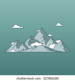 linear mountains landscape minimal flat style. Nature and travel