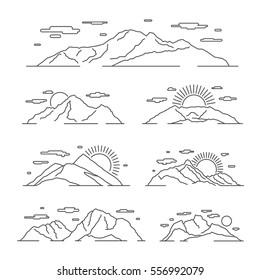 Linear mountains vector illustration. Line mountain alps landscape set. Linear landscape with mountain rock