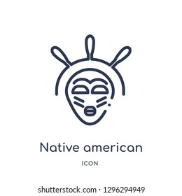 Linear native american mask icon from Culture outline collection. Thin line native american mask icon vector isolated on white background. native american mask trendy illustration