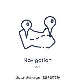 Linear navigation trajectory icon from Maps and locations outline collection. Thin line navigation trajectory icon isolated on white background. navigation trajectory trendy illustration