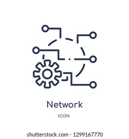 Linear network optimization icon from Internet security and networking outline collection. Thin line network optimization icon isolated on white background. network optimization trendy illustration