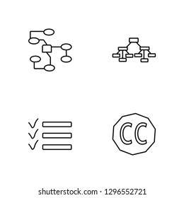 Linear Nodes, List, Hierarchical structure, Creative commons Vector Illustration Of 4 outline Icons. Editable Pack Of Nodes, List, Hierarchical structure, Creative commons