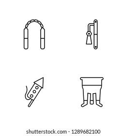 Linear Nunchaku, Fireworks, Dizi, Pot Vector Illustration Of 4 outline Icons. Editable Pack Of Nunchaku, Fireworks, Dizi, Pot