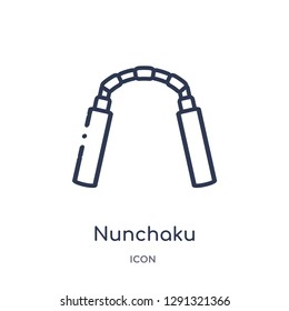 Linear nunchaku icon from Asian outline collection. Thin line nunchaku vector isolated on white background.