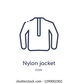 Linear nylon jacket icon from Clothes outline collection. Thin line nylon jacket vector isolated on white background. nylon jacket trendy illustration