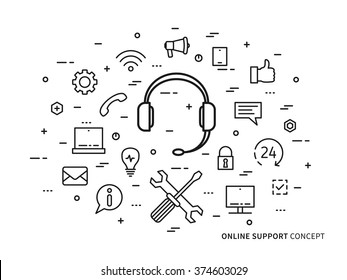 Linear online support (service, helpdesk, online assistance, operator) flat minimal outline illustration. Graphic design online support center, 24 hour hot helpline. Online support creative concept.