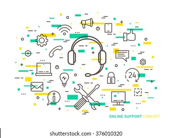 Linear online support (online service, helpdesk, assistance, consultant, online operator) minimal outline vector illustration. Graphic design online support, 24 hour helpline (headphone, headset).