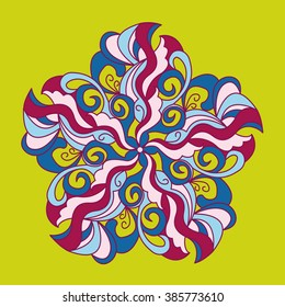 Linear ornament mandala ethnic tribal pattern, fabric, motifs. Vector, Abstract Flower. Decorative element for design. Gypsy, Arabic, Antique