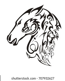 Linear ornate horse head. Tribal mustang head with the twirled dragon head inside ready for t-shirt design, tattoos and other