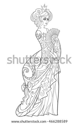 Linear Outline For Adult Coloring Book Page With Queen Or Princess In Crown And Lush