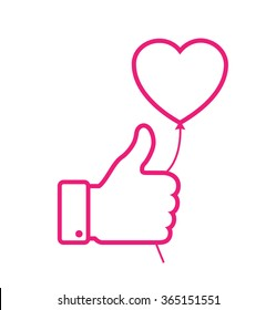 linear Outline Pink thumb up icon with pink heart balloon, love vector illustration.  Valentine's day card concept. Valentines day icon