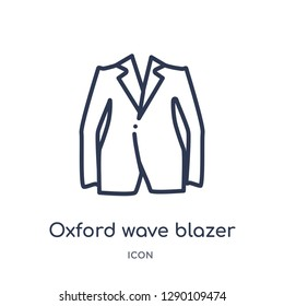 Linear oxford wave blazer icon from Clothes outline collection. Thin line oxford wave blazer vector isolated on white background. oxford wave blazer trendy illustration