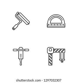 Linear Paint roller, Jackhammer, Protractor, Crane Vector Illustration Of 4 outline Icons. Editable Pack Of Paint roller, Jackhammer, Protractor, Crane