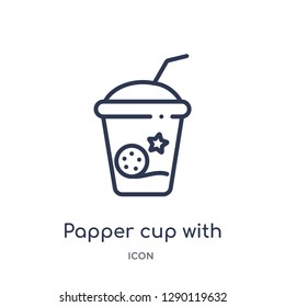 Linear papper cup with straw icon from Cinema outline collection. Thin line papper cup with straw vector isolated on white background. papper cup with straw trendy illustration