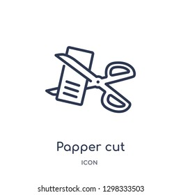 Linear papper cut scirssors icon from General outline collection. Thin line papper cut scirssors icon isolated on white background. papper cut scirssors trendy illustration