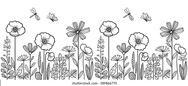 Linear pattern made of decorative flowers and plants with dragonfly and butterfly, nature of wild field and meadow. Vector sketch illustration isolated on white background. Can be used as border.