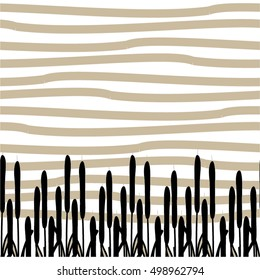 Linear pattern, nature, rushes, seamless vector background.