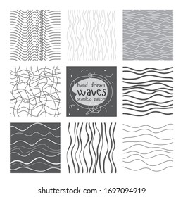 Linear pattern set. Hand drawn waves. Line art. Print for postcards, posters, banners, scrapbooking. Stripe texture. Wavy background. Seamless pattern