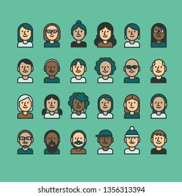 Linear People icon set