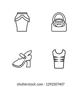 Linear Peplum Skirt, High Heel, Hobo Bag, Padded Vest Vector Illustration Of 4 outline Icons. Editable Pack Of Peplum Skirt, High Heel, Hobo Bag, Padded Vest
